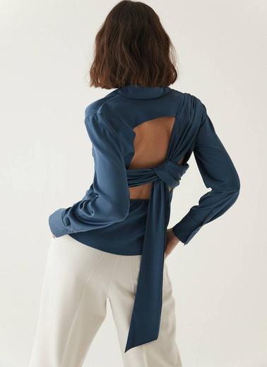 Rue Sırtı Drape Detaylı Gömlek Lacivert